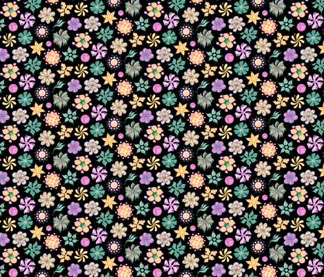 Celebrational Flowers- Small- Black Background- Green, Pink, Yellow Ornate Flowers Blooms fabric by nicole_denise_designs on Spoonflower - custom fabric