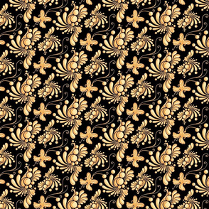 Golden Balls- Small- Black Background- Ornate Swirly Butterfly Designs