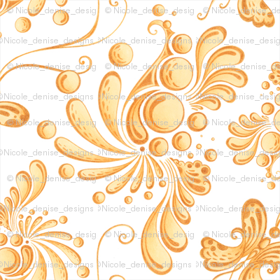 Golden Balls- Small- White Background, Ornate, Swirly, Butterflies, Designs