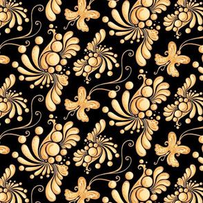 Golden Balls- Large- Black Background- Ornate Swirly Butterflies- Designs