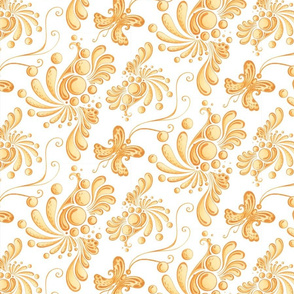 Golden Balls- Large- White Background, Ornate Swirly Butterflies, Designs