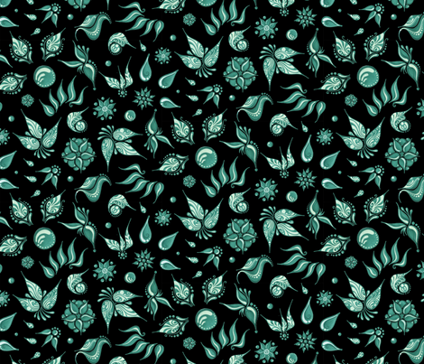 Lovely Leaves- Large- Black Background- Green Leaves fabric by nicole_denise_designs on Spoonflower - custom fabric