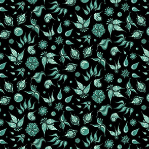 Lovely Leaves- Large- Black Background- Green Leaves