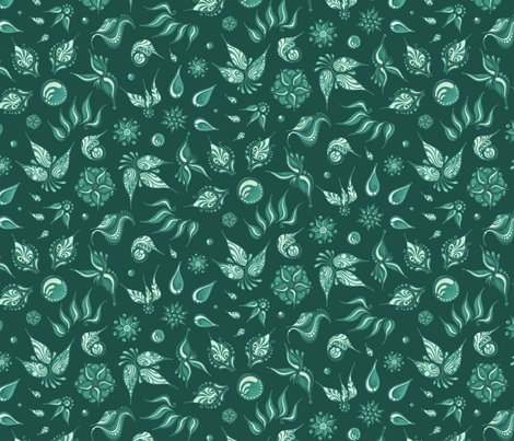 Lovely Leaves- Large- Green Background, Green Leaves fabric by nicole_denise_designs on Spoonflower - custom fabric