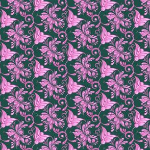 Purple Pretties- Small- Green Background, Flower Bud Designs