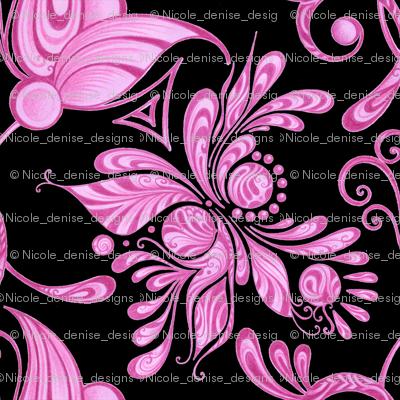 Purple Pretties- Large- Black Background- Flower Bud Designs Swirly