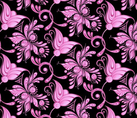 Purple Pretties- Large- Black Background- Flower Bud Designs Swirly fabric by nicole_denise_designs on Spoonflower - custom fabric