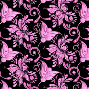 Purple Pretties- Large- Black Background- Flower Bud Designs Swirly