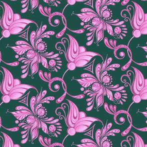 Purple Pretties- Large- Green Background, Flower Bud Designs