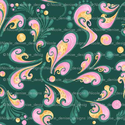 Swirls- Large- Green Background, Green, Pink, Yellow Designs