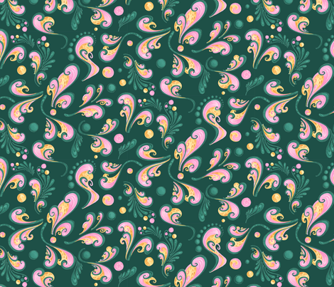 Swirls- Large- Green Background, Green, Pink, Yellow Designs fabric by nicole_denise_designs on Spoonflower - custom fabric
