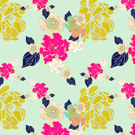 Jungle navy and mint with more fuschia for Treasa fabric by joanmclemore on Spoonflower - custom fabric
