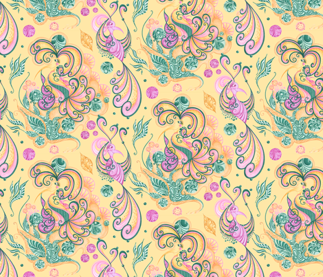 Celebrational Birds Music Notes Leaves- Yellow Background fabric by nicole_denise_designs on Spoonflower - custom fabric