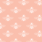 Native Bee, White on Coral Peach