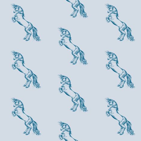 Wild Horses, Petrol Blue on Mist Grey fabric by thistleandfox on Spoonflower - custom fabric