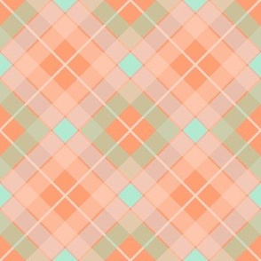 Plaid Orange Aqua Diamond