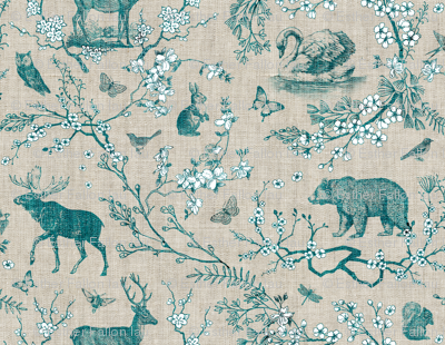 Woodland Spring Toile (Teal)