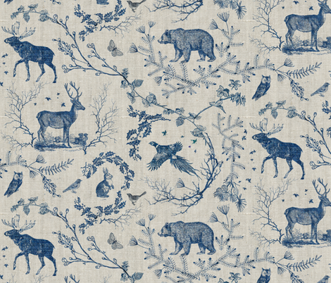 Winter Toile (in Navy) fabric by nouveau_bohemian on Spoonflower - custom fabric