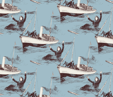 A Ship Arriving Too Late To Save A Drowning Withch fabric by punkfishfamily on Spoonflower - custom fabric