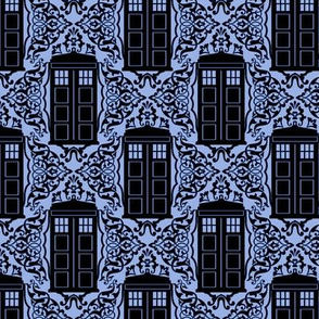 Damask Police Box - Black on Blue