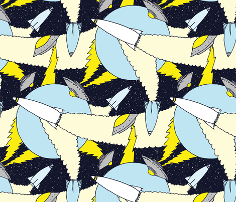 U.F.O.s and Rockets fabric by punkfishfamily on Spoonflower - custom fabric