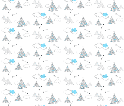 Teepee time blue fabric by nuzzle_baby on Spoonflower - custom fabric