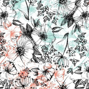 Sketchy Flowers - Mint & Coral