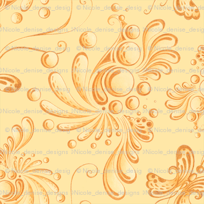 Golden Balls- Small- Yellow Background, Ornate Swirly Butterflies, Designs