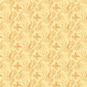 Golden Balls- Small- Yellow Background, Ornate Swirly Butterflies, Designs