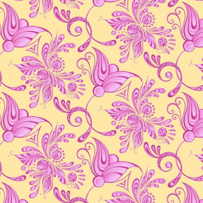 Purple Pretties- Large- Yellow Background, Flower Bud Designs