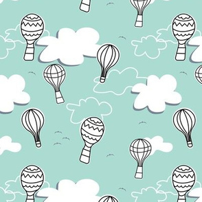 Mint & Gray Hot Air Balloons