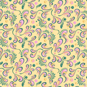Swirls- Large- Yellow Background, Green, Pink, Yellow Designs