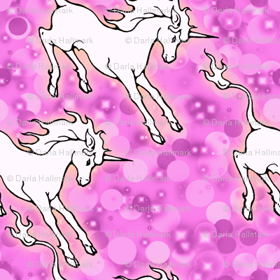 Frolicking Unicorns in Pink