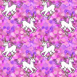 galloping unicorns, pink and purple