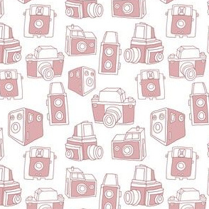 Hand-drawn Vintage Cameras (White)