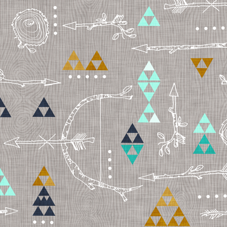 Wooded Arrows (Turquoise) fabric by nouveau_bohemian on Spoonflower - custom fabric