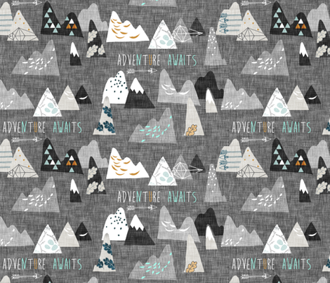 Adventure Awaits (charcoal) REGULAR fabric by nouveau_bohemian on Spoonflower - custom fabric
