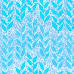 Sea grasses in bright blues on linen weave by Su_G