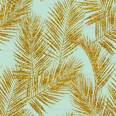 gold glitter palm leaves - mint, large. silhuettes faux gold imitation tropical forest mint background hot summer palm plant leaves shimmering metal effect texture fabric wallpaper giftwrap