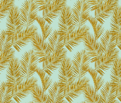 gold glitter palm leaves - mint, large. silhuettes faux gold imitation tropical forest mint background hot summer palm plant leaves shimmering metal effect texture fabric wallpaper giftwrap fabric by mirabelleprint on Spoonflower - custom fabric