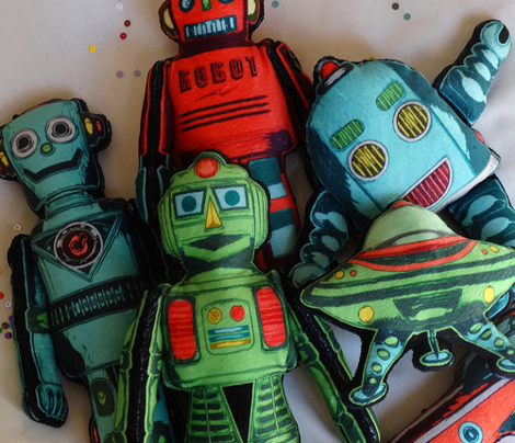 Small Retro Robots with Flying Saucer on Minky