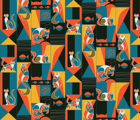 modernist cats in primary colors fabric by pinkowlet on Spoonflower - custom fabric