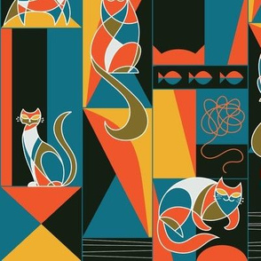modernist cats in primary colors