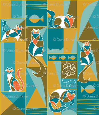 modernist cats teal