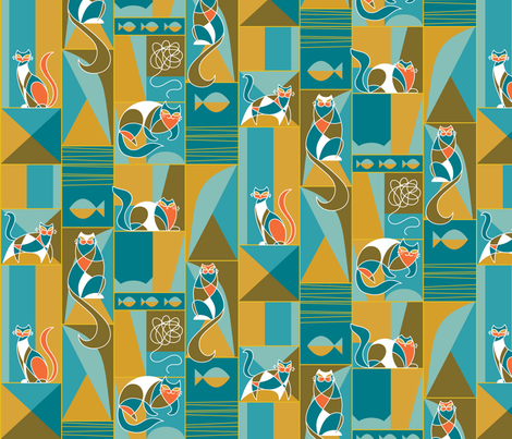 modernist cats teal  fabric by pinkowlet on Spoonflower - custom fabric