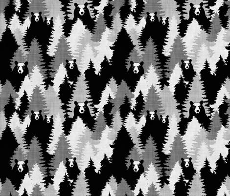 Bear Camo Black & White fabric by kimsa on Spoonflower - custom fabric