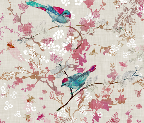 Birds + the Bees (Rose) (LARGE) fabric by nouveau_bohemian on Spoonflower - custom fabric