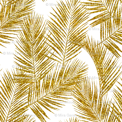 Gold Glitter Palm Leaves