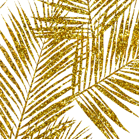 gold glitter palm leaves - white, large.   silhuettes faux gold imitation tropical forest white background hot summer palm plant leaves shimmering metal effect texture fabric wallpaper giftwrap fabric by mirabelleprint on Spoonflower - custom fabric