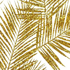 gold glitter palm leaves - white, large.   silhuettes faux gold imitation tropical forest white background hot summer palm plant leaves shimmering metal effect texture fabric wallpaper giftwrap